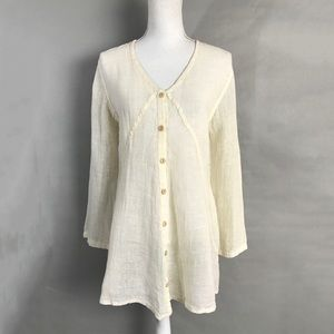 Flax Linen Tunic Cream ivory Gauzy Long sleeve Top